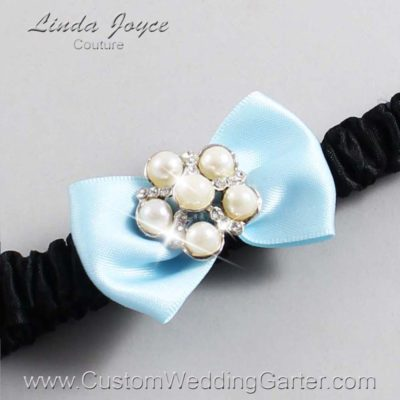 "305 Alice Blue and Black Satin Bow Wedding Garter / Satin Bow Bridal Garter / Satin Bow Prom Garter ""DeeAnna-03-Silver"""