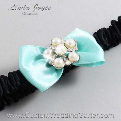 "314 Aqua and Black Satin Bow Wedding Garter / Satin Bow Bridal Garter / Satin Bow Prom Garter ""DeeAnna-03-Silver"""