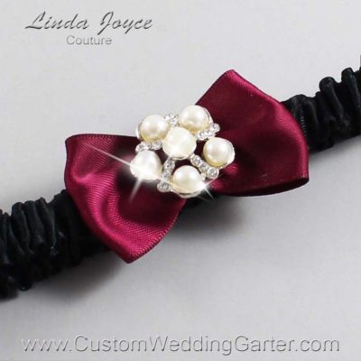 "332 Wine and Black Satin Bow Wedding Garter / Satin Bow Bridal Garter / Satin Bow Prom Garter ""DeeAnna-03-Silver"""