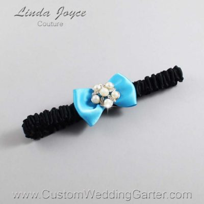 """340 Turquoise and Black Satin Bow Wedding Garter / Satin Bow Bridal Garter / Satin Bow Prom Garter """"DeeAnna-03-Silver"""""""