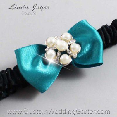 "346 Jade and Black Satin Bow Wedding Garter / Satin Bow Bridal Garter / Satin Bow Prom Garter ""DeeAnna-03-Silver"""