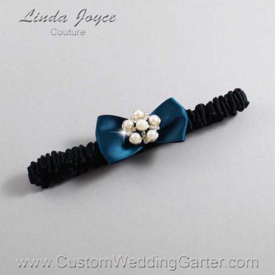 "347 Teal and Black Satin Bow Wedding Garter / Satin Bow Bridal Garter / Satin Bow Prom Garter ""DeeAnna-03-Silver"""
