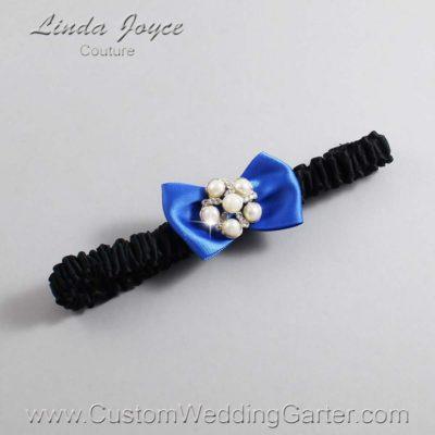 "350 Royal Blue and Black Satin Bow Wedding Garter / Satin Bow Bridal Garter / Satin Bow Prom Garter ""DeeAnna-03-Silver"""