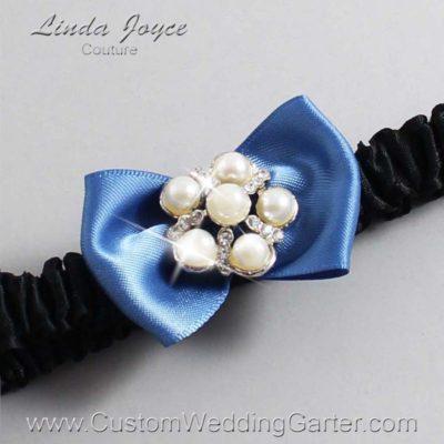 "363 Smoke Blue and Black Satin Bow Wedding Garter / Satin Bow Bridal Garter / Satin Bow Prom Garter ""DeeAnna-03-Silver"""