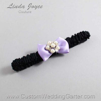 "430 Lavender Purple and Black Satin Bow Wedding Garter / Satin Bow Bridal Garter / Satin Bow Prom Garter ""DeeAnna-03-Silver"""