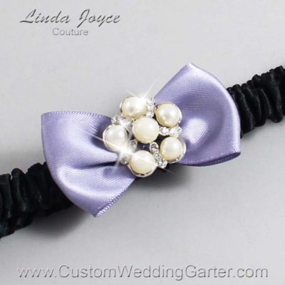 "435 Thistle Purple and Black Satin Bow Wedding Garter / Satin Bow Bridal Garter / Satin Bow Prom Garter ""DeeAnna-03-Silver"""