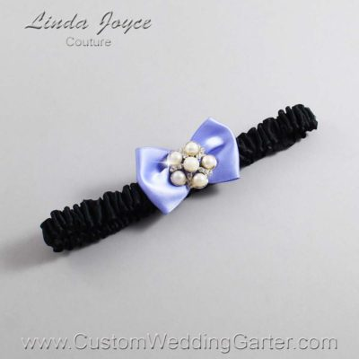 "447 Iris Purple and Black Satin Bow Wedding Garter / Satin Bow Bridal Garter / Satin Bow Prom Garter ""DeeAnna-03-Silver"""