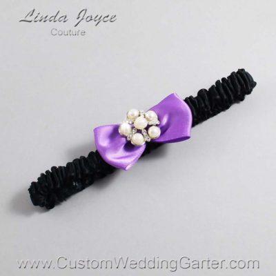 "463 Grape Purple and Black Satin Bow Wedding Garter / Satin Bow Bridal Garter / Satin Bow Prom Garter ""DeeAnna-03-Silver"""