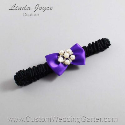 "465 Eggplant Purple and Black Satin Bow Wedding Garter / Satin Bow Bridal Garter / Satin Bow Prom Garter ""DeeAnna-03-Silver"""