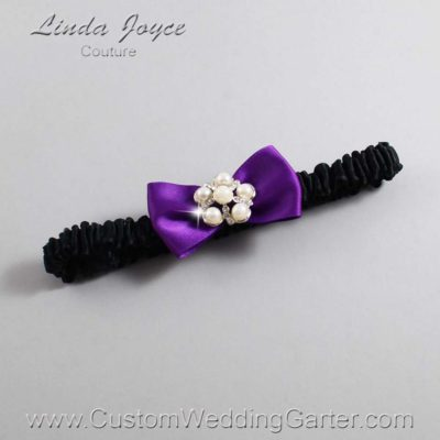 "467 Ultra Violet Purple and Black Satin Bow Wedding Garter / Satin Bow Bridal Garter / Satin Bow Prom Garter ""DeeAnna-03-Silver"""