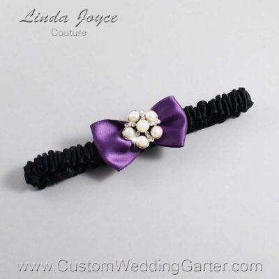 """473 Amethyst Purple and Black Satin Bow Wedding Garter / Satin Bow Bridal Garter / Satin Bow Prom Garter """"DeeAnna-03-Silver"""""""