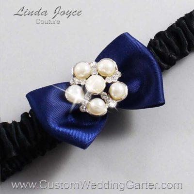 "508 Navy Blue and Black Satin Bow Wedding Garter / Satin Bow Bridal Garter / Satin Bow Prom Garter ""DeeAnna-03-Silver"""