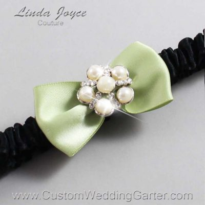 """524 Lime Juice Green and Black Satin Bow Wedding Garter / Satin Bow Bridal Garter / Satin Bow Prom Garter """"DeeAnna-03-Silver"""""""