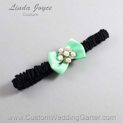 "531 Mint Green and Black Satin Bow Wedding Garter / Satin Bow Bridal Garter / Satin Bow Prom Garter ""DeeAnna-03-Silver"""
