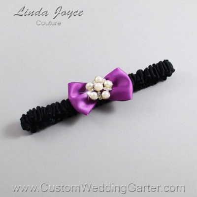 "541 Helio Purple and Black Satin Bow Wedding Garter / Satin Bow Bridal Garter / Satin Bow Prom Garter ""DeeAnna-03-Silver"""