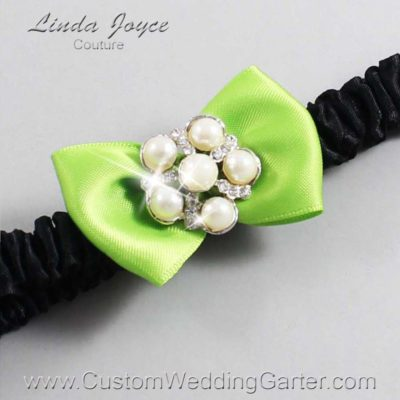 "550 Green Yellow and Black Satin Bow Wedding Garter / Satin Bow Bridal Garter / Satin Bow Prom Garter ""DeeAnna-03-Silver"""