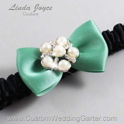 "564 Celadon Green and Black Satin Bow Wedding Garter / Satin Bow Bridal Garter / Satin Bow Prom Garter ""DeeAnna-03-Silver"""