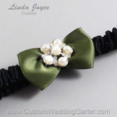"570 Moss Green and Black Satin Bow Wedding Garter / Satin Bow Bridal Garter / Satin Bow Prom Garter ""DeeAnna-03-Silver"""
