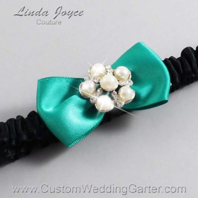 "583 Parrot Green and Black Satin Bow Wedding Garter / Satin Bow Bridal Garter / Satin Bow Prom Garter ""DeeAnna-03-Silver"""