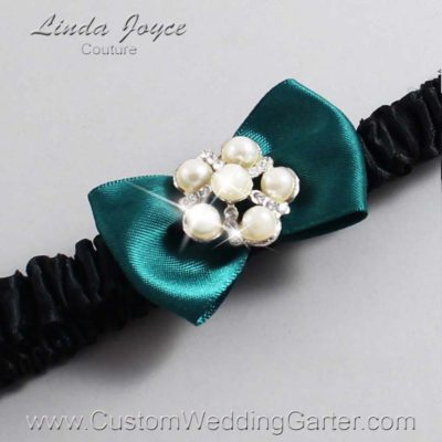 "589 Jungle Green and Black Satin Bow Wedding Garter / Satin Bow Bridal Garter / Satin Bow Prom Garter ""DeeAnna-03-Silver"""