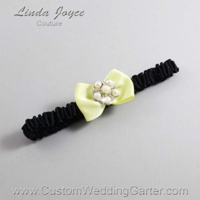 "617 Lemon Chiffon Yellow and Black Satin Bow Wedding Garter / Satin Bow Bridal Garter / Satin Bow Prom Garter ""DeeAnna-03-Silver"""