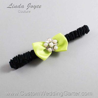 "625 Pineapple Yellow and Black Satin Bow Wedding Garter / Satin Bow Bridal Garter / Satin Bow Prom Garter ""DeeAnna-03-Silver"""