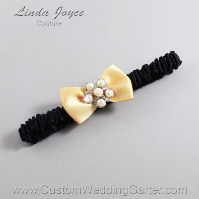 """644 Buttercup Yellow and Black Satin Bow Wedding Garter / Satin Bow Bridal Garter / Satin Bow Prom Garter """"DeeAnna-03-Silver"""""""