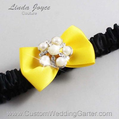 "645 Sunglow Yellow and Black Satin Bow Wedding Garter / Satin Bow Bridal Garter / Satin Bow Prom Garter ""DeeAnna-03-Silver"""