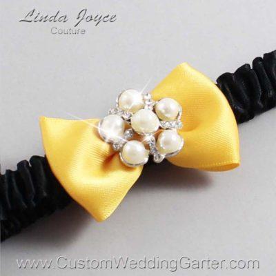 "658 Saffron Yellow and Black Satin Bow Wedding Garter / Satin Bow Bridal Garter / Satin Bow Prom Garter ""DeeAnna-03-Silver"""
