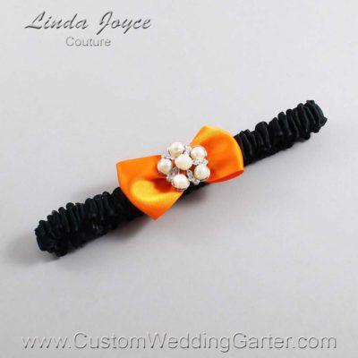 "668 Tangerine Orange and Black Satin Bow Wedding Garter / Satin Bow Bridal Garter / Satin Bow Prom Garter ""DeeAnna-03-Silver"""