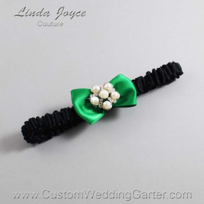 "684 Emerald Green and Black Satin Bow Wedding Garter / Satin Bow Bridal Garter / Satin Bow Prom Garter ""DeeAnna-03-Silver"""