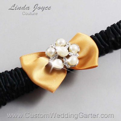 "690 Old Gold and Black Satin Bow Wedding Garter / Satin Bow Bridal Garter / Satin Bow Prom Garter ""DeeAnna-03-Silver"""