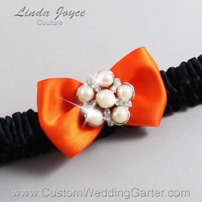 "749 Torrid Orange and Black Satin Bow Wedding Garter / Satin Bow Bridal Garter / Satin Bow Prom Garter ""DeeAnna-03-Silver"""