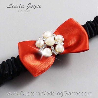 "765 Mandarin Orange and Black Satin Bow Wedding Garter / Satin Bow Bridal Garter / Satin Bow Prom Garter ""DeeAnna-03-Silver"""