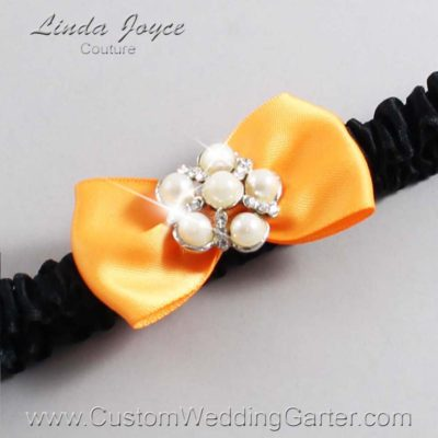 "772 Curry Orange and Black Satin Bow Wedding Garter / Satin Bow Bridal Garter / Satin Bow Prom Garter ""DeeAnna-03-Silver"""
