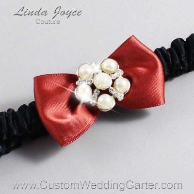 "780 Rust and Black Satin Bow Wedding Garter / Satin Bow Bridal Garter / Satin Bow Prom Garter ""DeeAnna-03-Silver"""