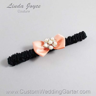 "805 Peach and Black Satin Bow Wedding Garter / Satin Bow Bridal Garter / Satin Bow Prom Garter ""DeeAnna-03-Silver"""