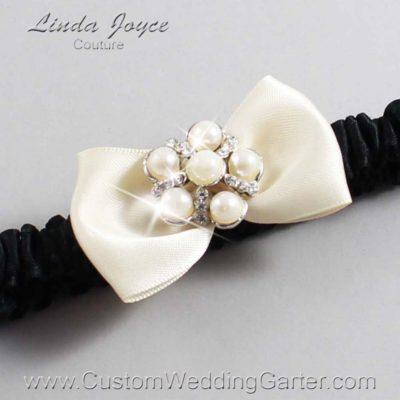 """815 Beige and Black Satin Bow Wedding Garter / Satin Bow Bridal Garter / Satin Bow Prom Garter """"DeeAnna-03-Silver"""""""
