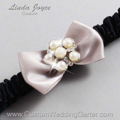 "818 Carmandy and Black Satin Bow Wedding Garter / Satin Bow Bridal Garter / Satin Bow Prom Garter ""DeeAnna-03-Silver"""