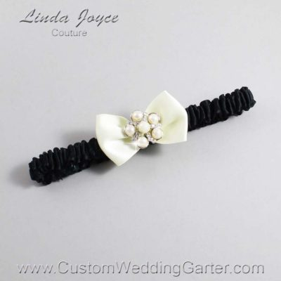 """820 Candlelight and Black Satin Bow Wedding Garter / Satin Bow Bridal Garter / Satin Bow Prom Garter """"DeeAnna-03-Silver"""""""