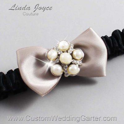 "823 Taupe and Black Satin Bow Wedding Garter / Satin Bow Bridal Garter / Satin Bow Prom Garter ""DeeAnna-03-Silver"""