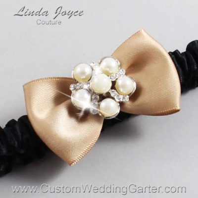 "830 Desert Sand and Black Satin Bow Wedding Garter / Satin Bow Bridal Garter / Satin Bow Prom Garter ""DeeAnna-03-Silver"""