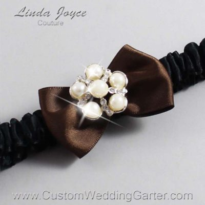 "850 Coffee Brown and Black Satin Bow Wedding Garter / Satin Bow Bridal Garter / Satin Bow Prom Garter ""DeeAnna-03-Silver"""
