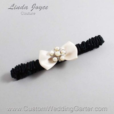"860 Antique White and Black Satin Bow Wedding Garter / Satin Bow Bridal Garter / Satin Bow Prom Garter ""DeeAnna-03-Silver"""