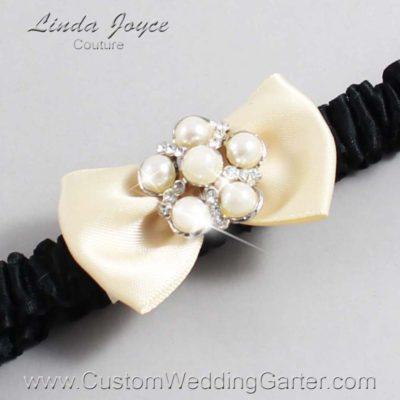"882 Cream and Black and Black Satin Bow Wedding Garter / Satin Bow Bridal Garter / Satin Bow Prom Garter ""DeeAnna-03-Silver"""