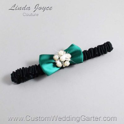 "925 Hunter Green and Black Satin Bow Wedding Garter / Satin Bow Bridal Garter / Satin Bow Prom Garter ""DeeAnna-03-Silver"""