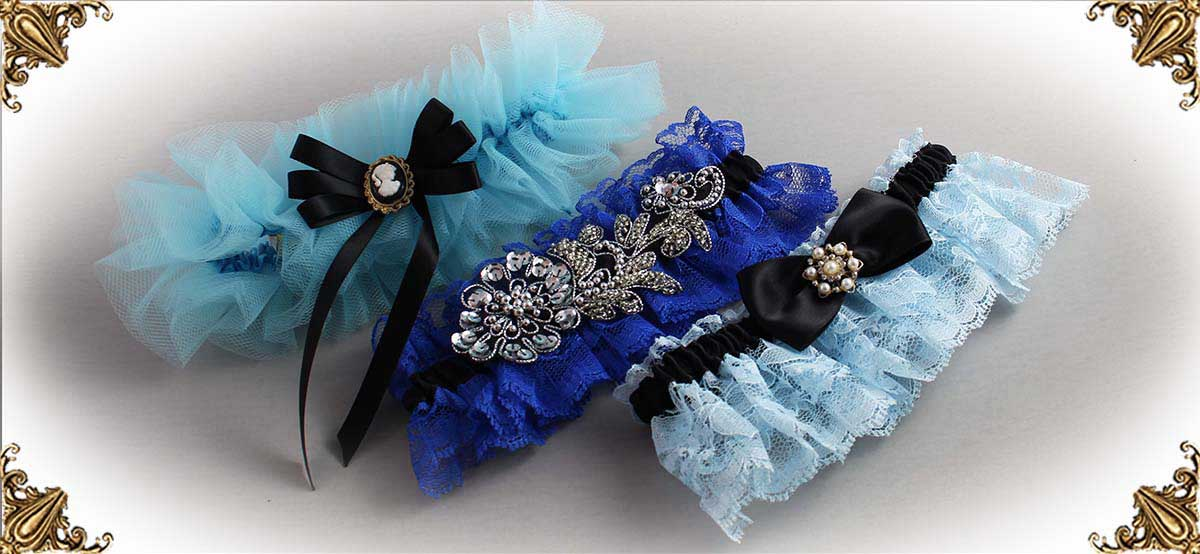 Blue-and-Black-Wedding-Garters-Bridal-Garters-Prom-Garters-Custom-Wedding-Garters-Linda-Joyce-Couture