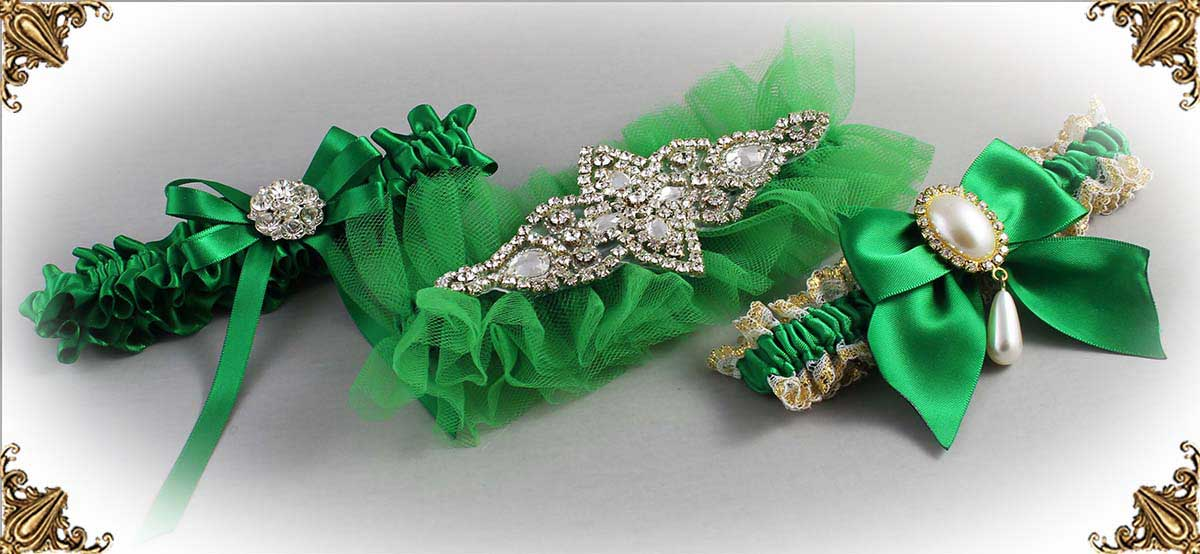 Emerald Green Wedding Garters 684