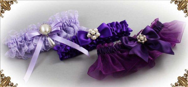 Purple Garters for Wedding or Prom-Bridal-Garter-Prom-Garters-Custom-Wedding-Garter-Linda-Joyce-couture