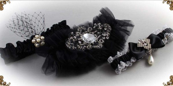 Black-Wedding-Garters-Bridal-Garter-Prom-Garters-Custom-Wedding-Garter-Linda-Joyce-couture